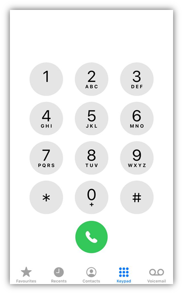 dial pad on iphone