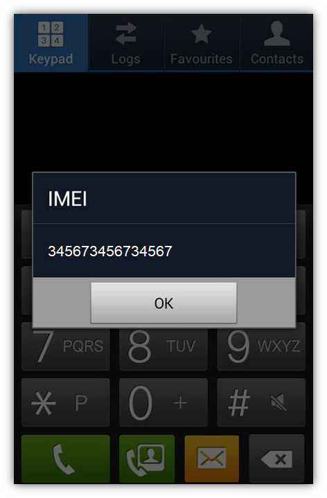 Example: IMEI number displayed on an old Samsung Android phone (We have updated the screenshot to replace the actual IMEI)